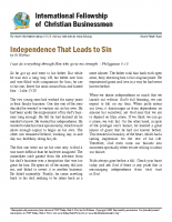 Independence that leads to sin